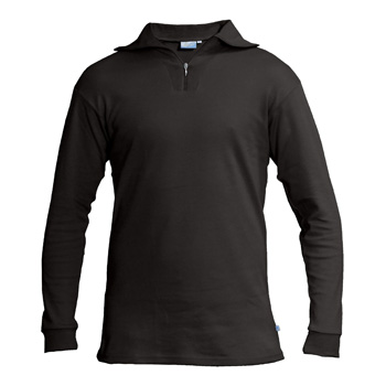 Manbi Adult Cotton Zip Polo Black*