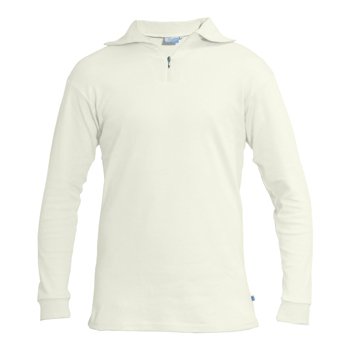 Manbi Adult Cotton Zip Polo Winter White*