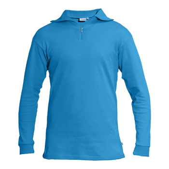 Manbi Adult Cotton Zip Polo Electric Blue