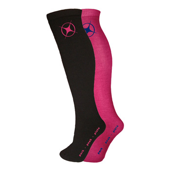 Manbi Performance Ski Sock Twin Pack Black/Raspberry
