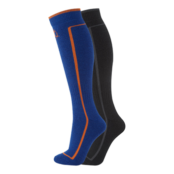 Manbi Performance Ski Sock Twin Pack Black/Olympic Blue