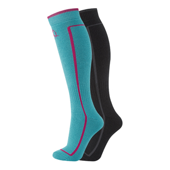 Manbi Performance Ski Sock Twin Pack Black/Turquoise