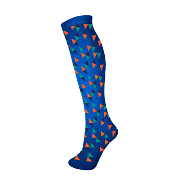 Manbi Patterned Tube Sock Triangles Blue